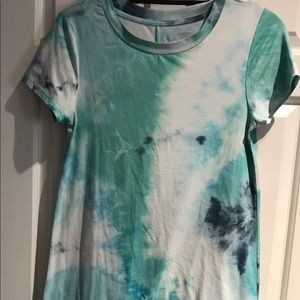 WallFlower blue tie-dye t-shirt dress size small